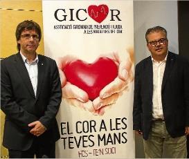 Carles Puigdemont amb el president de Gicor, Tomàs Joan Fajardo.