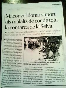 """""""Macor vol donar suport als malalts de cor de tota la comarca de la Selva"""""""