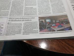 """""""MACOR porta la formació sobre desfibril·ladors als instituts"""""""